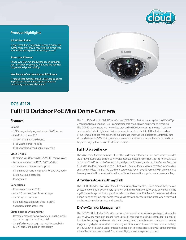 D-Link DCS-6212L Cámara de seguridad IP Exterior Almohadilla Negro, Blanco 1920 x 1080Pixeles: Amazon.es: Electrónica