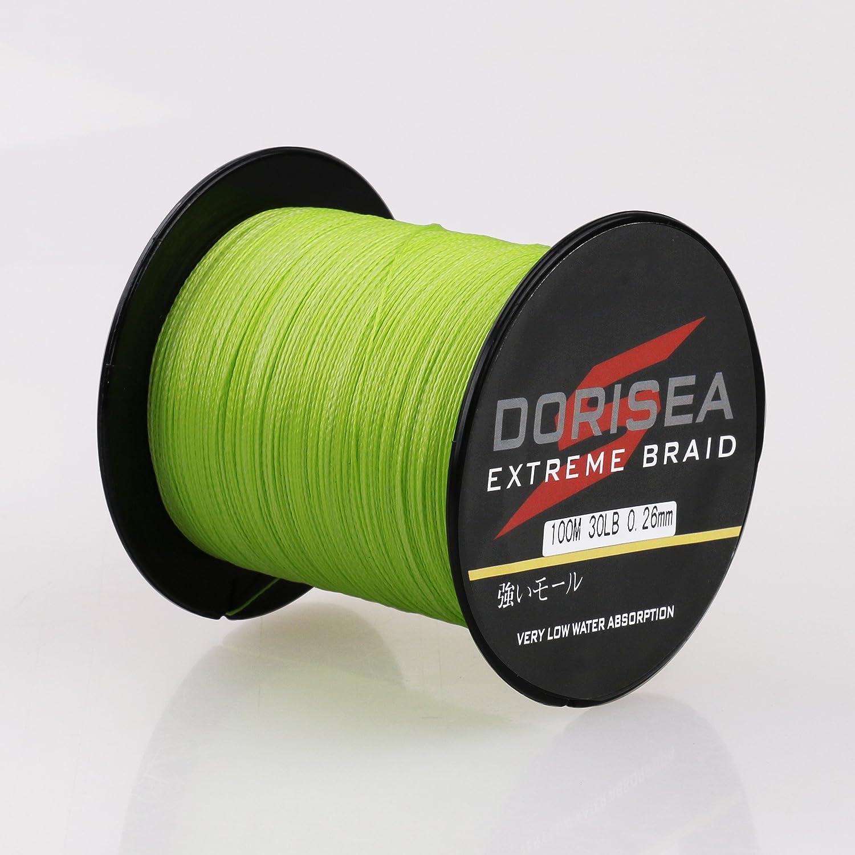 dorisea Extreme Braid 100 % PE編組釣りライン109yards-2187yards 6 – 300lbテスト蛍光グリーン B078GFNYG5 100m/109Yards 550lb/2.5mm(16Strands)