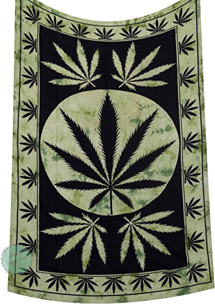 Marijuana Wall Hanging Leaf Poster Tapestry Decorative Wall Art Hippie Textile