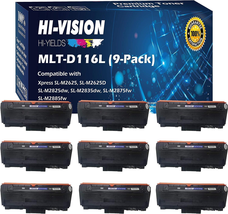 (9-Pack Value Set, Black) Compatible 116L MLT-D116L Toner Cartridge Replacement, for Samsung Xpress M2885FW, M2835DW, M2825FD, M2875FW, M2875FD, M2625D, Sold by HI-VISION HI-YIELDS 917WmjBValLSL1500_