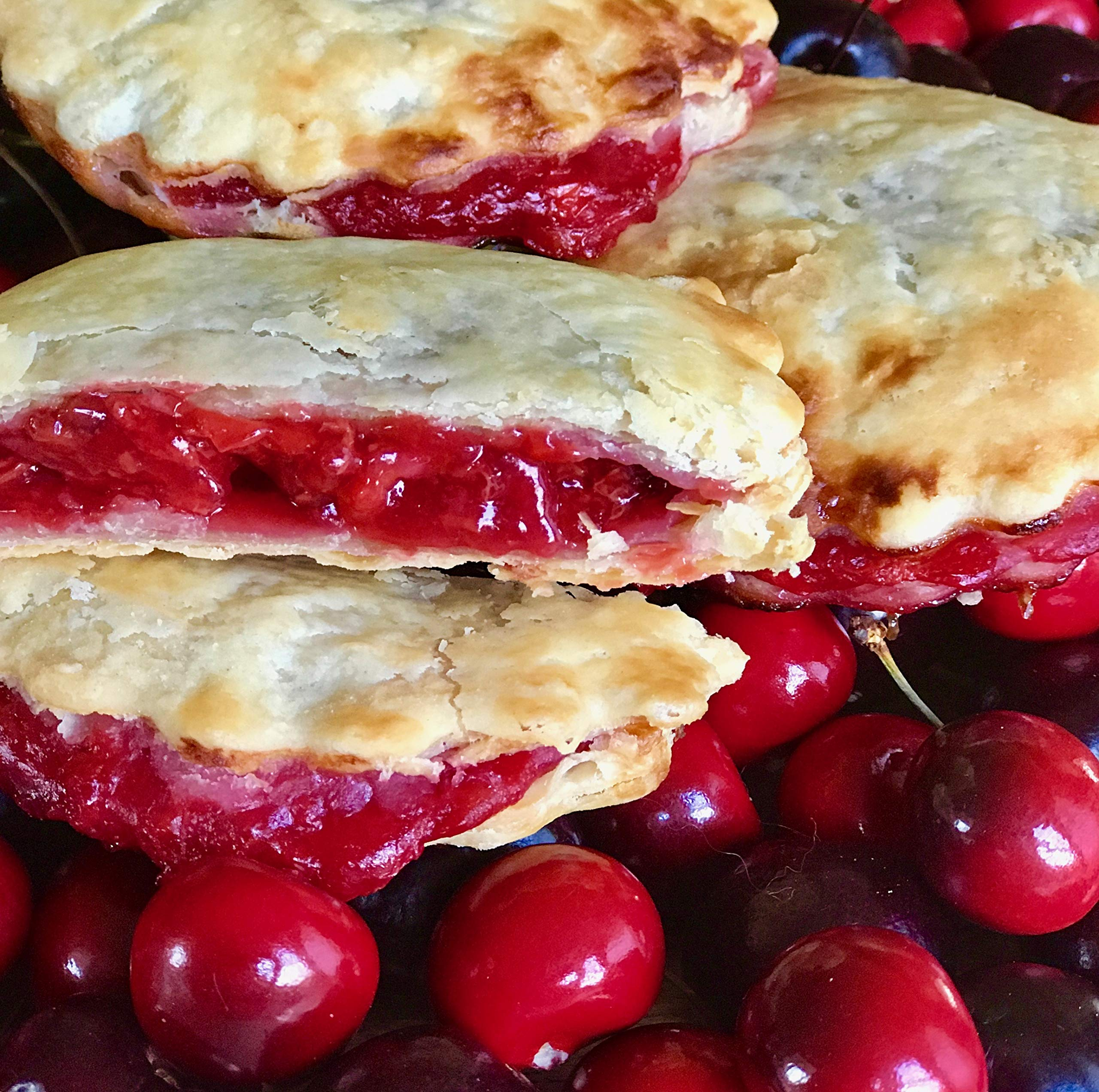 Mamie's 12 Pack Melt-in-Your-Mouth Single Serving Cherry Pies, Individually Packaged 4.5oz Pocket Pies, Preservative Free, Shipped Frozen and Ready to Bake, Made in USA. by Mamie's Pies (Image #4)