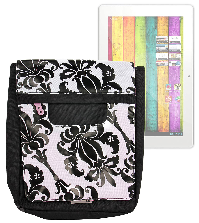 DURAGADGET Exclusiva negro y blanco Lily impresión Messenger y bolso en satchel-style para el Archos 97 Carbon, 97 Xenon, Arnova 10 C, 101 XS y 101 XS2: ...