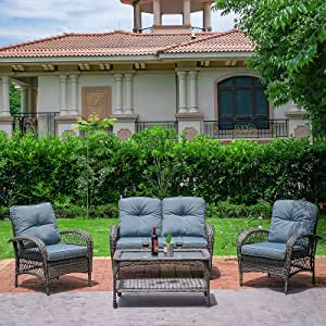 JVVMNJLK Patio Wicker Furniture Set All-Weather, Pure Manual 4 Piece Rattan Patio Furniture Set with Tempered Glass Coffee Table Suitable for Garden,Backyard,Courtyards, Deck