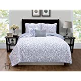 5-Piece Quilt Set with Shams & Decorative Pillows. Super Soft Microfiber Material Featuring a Unique & Beautiful Printed Design. Deena Collection By Home Fashion Designs. (Full/Queen, Grey)