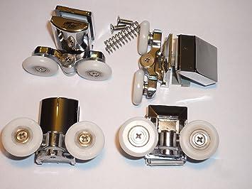 Set Of 4 New Shower Door Rollers Am49p 6 4 2 Height Adjustable Top 2 Sprung Quick Release Lowers Amazon Co Uk Diy Tools