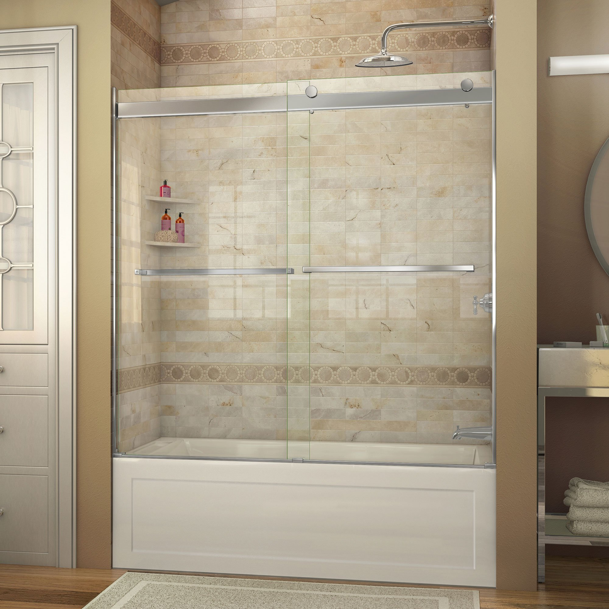 DreamLine Essence 56-60 in. Width, Frameless Bypass Sliding Tub Door, 5/16'' Glass, Chrome Finish