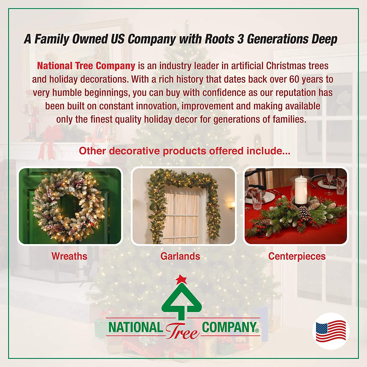 National Tree Company Pre-lit Artificial Christmas Garland Snowy Bristle Pine 9 ft Includes Pre-Strung Lights