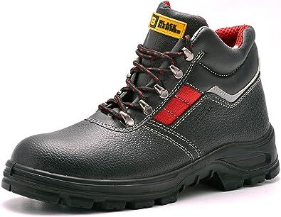 Botas de Seguridad de Cuero para Hombres Puntera de Acero Protección de Entresuela Resistente al Agua Impermeable S3 SRC Calzado de Trabajo al Tobillo
