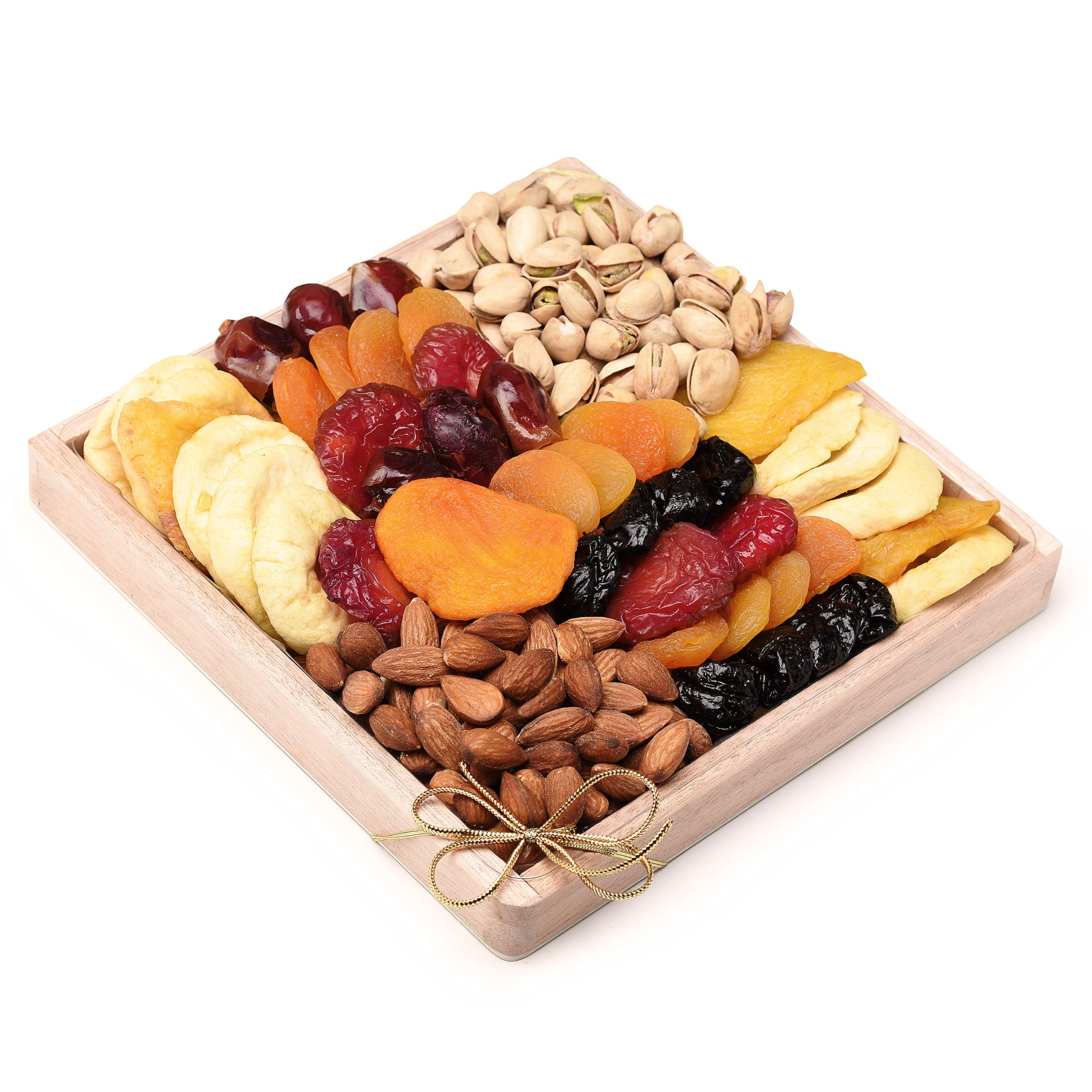 Milliard Dried Fruit & Nut Gift Platter Arrangement on Pine Wood Tray for year-round and Holiday - 24 Ounce Assortment