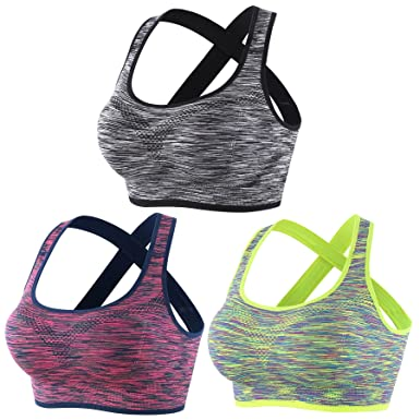 0efeef019b EMY Crossback Sports Bra Space Dye 1 Or 3 Pack S M L Yoga Bra Seamless for  Jogging Running Workout Fitness Crossfit