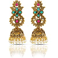 Yellow Chimes Traditional Jhumka/Jhumki Earrings Temple Jewellery Antique Oxidized Matte Gold Plated Pearl Earrings for Womens & Girls