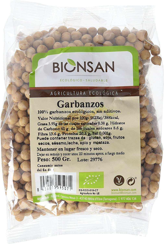 Bionsan Garbanzos Ecológicos | 6 paquetes de 500 gr. | Total: 3000 ...