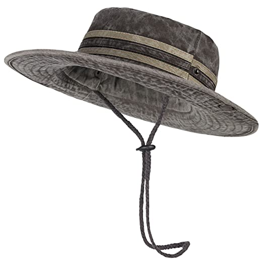88ef39209bf Bodvera Sun Cap Bucket Boonie Chin Cord Breathable Safari Fishing Hunting  Hat for Men Women