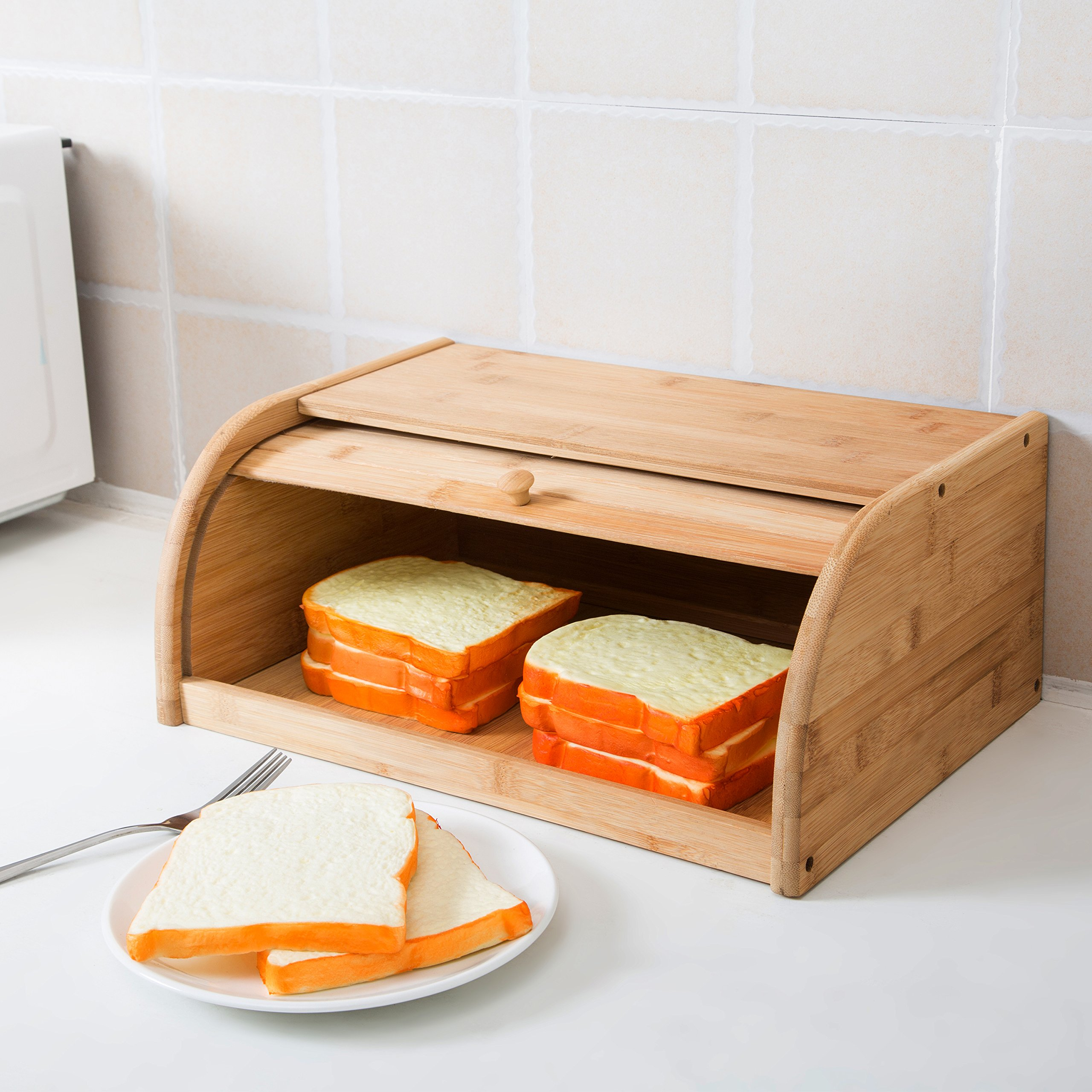 16 inch Kitchen Natural Wooden Bamboo Rolltop Bread Box Food Storage - MyGift by MyGift (Image #2)