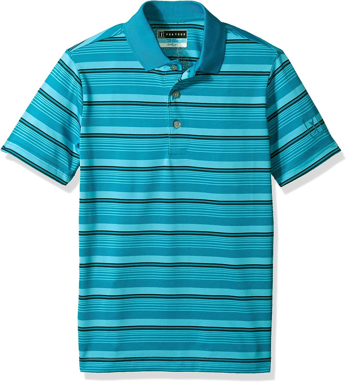 PGA TOUR Boys Big Short Sleeve Airflux 3 Color Stripe Polo Shirt