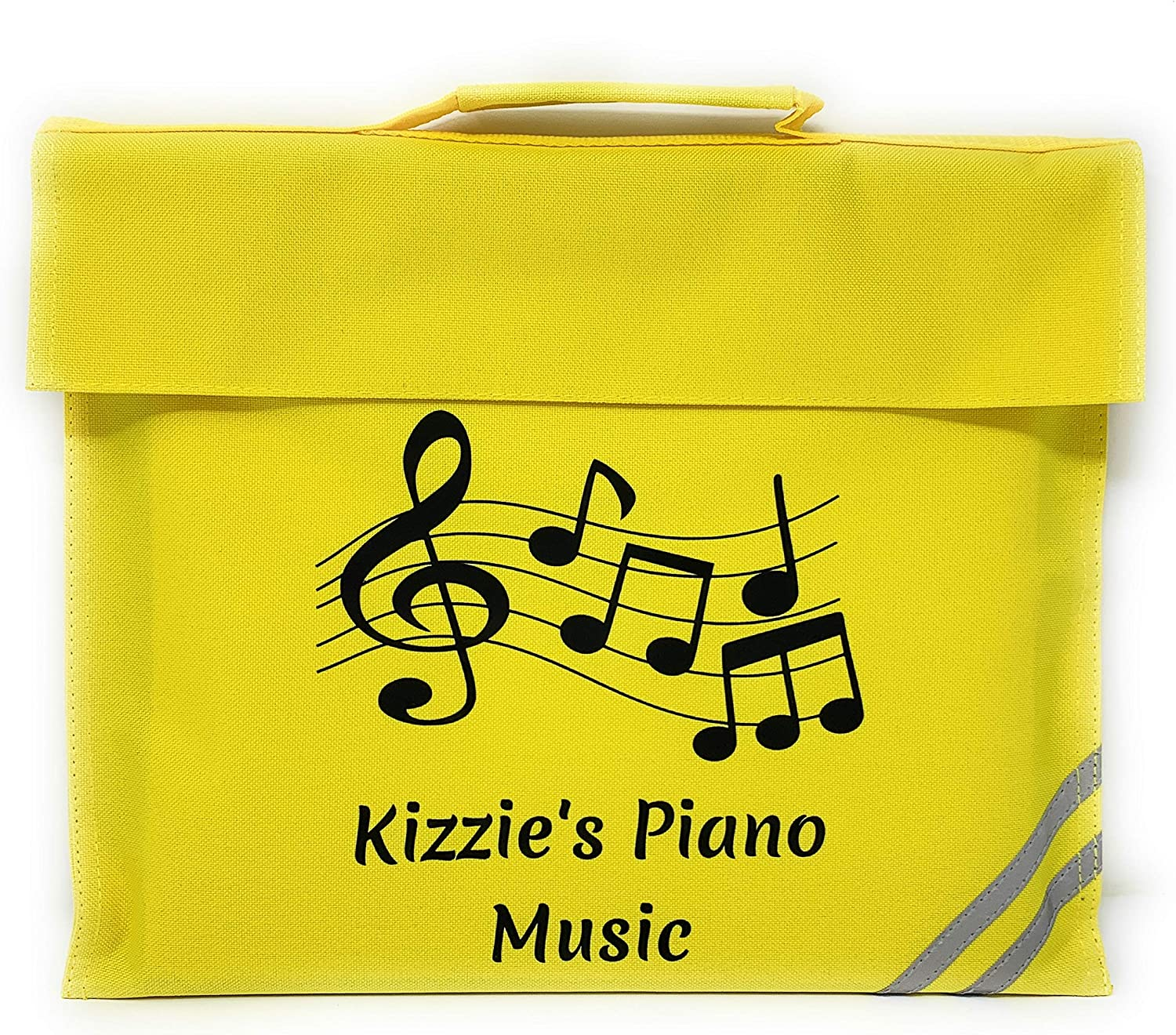 PERSONALISED THEATRE /& ARTS MUSIC NOTES WITH TREBLE CLEF DESIGN SCHOOL BOOK BAG DOCUMENT HOLDER IN BLACK Black