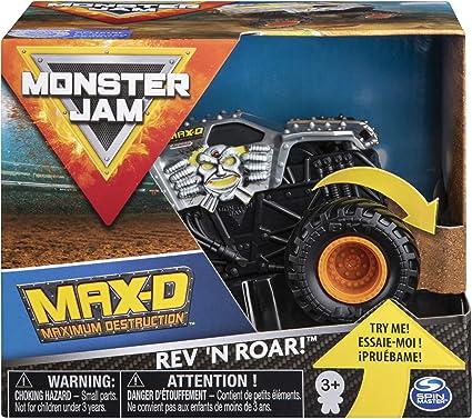 Amazon Com Monster Jam Official Max D Rev N Roar Monster Truck 1 43 Scale Toys Games