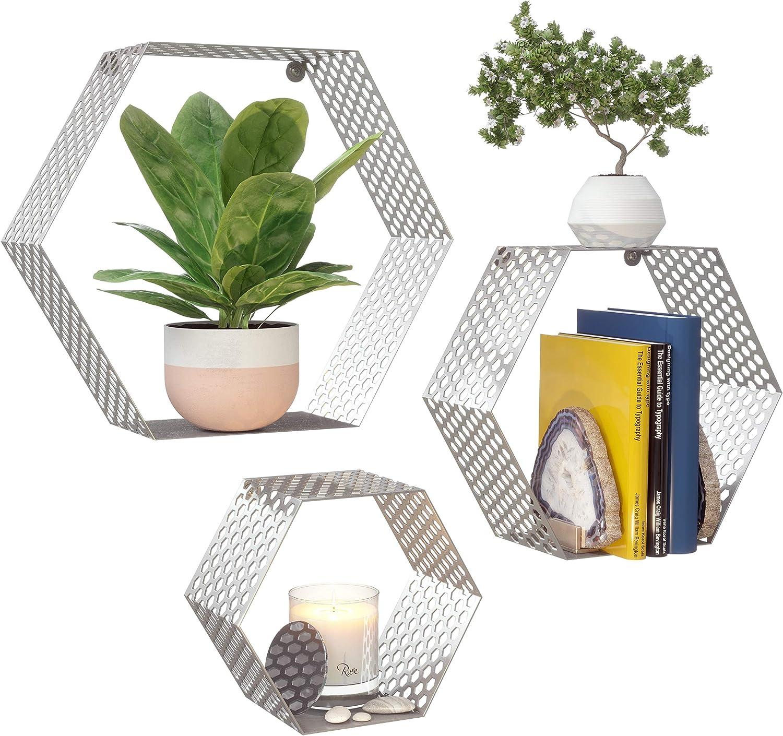 OD House Hexagon Floating Shelves - Set of 3 Modern Metal Honeycomb Shelves for Wall. Polished Stainless Steel Shelves for Living Room, Bedroom, Bathroom, Kitchen and More. Hanging Hardware Included.