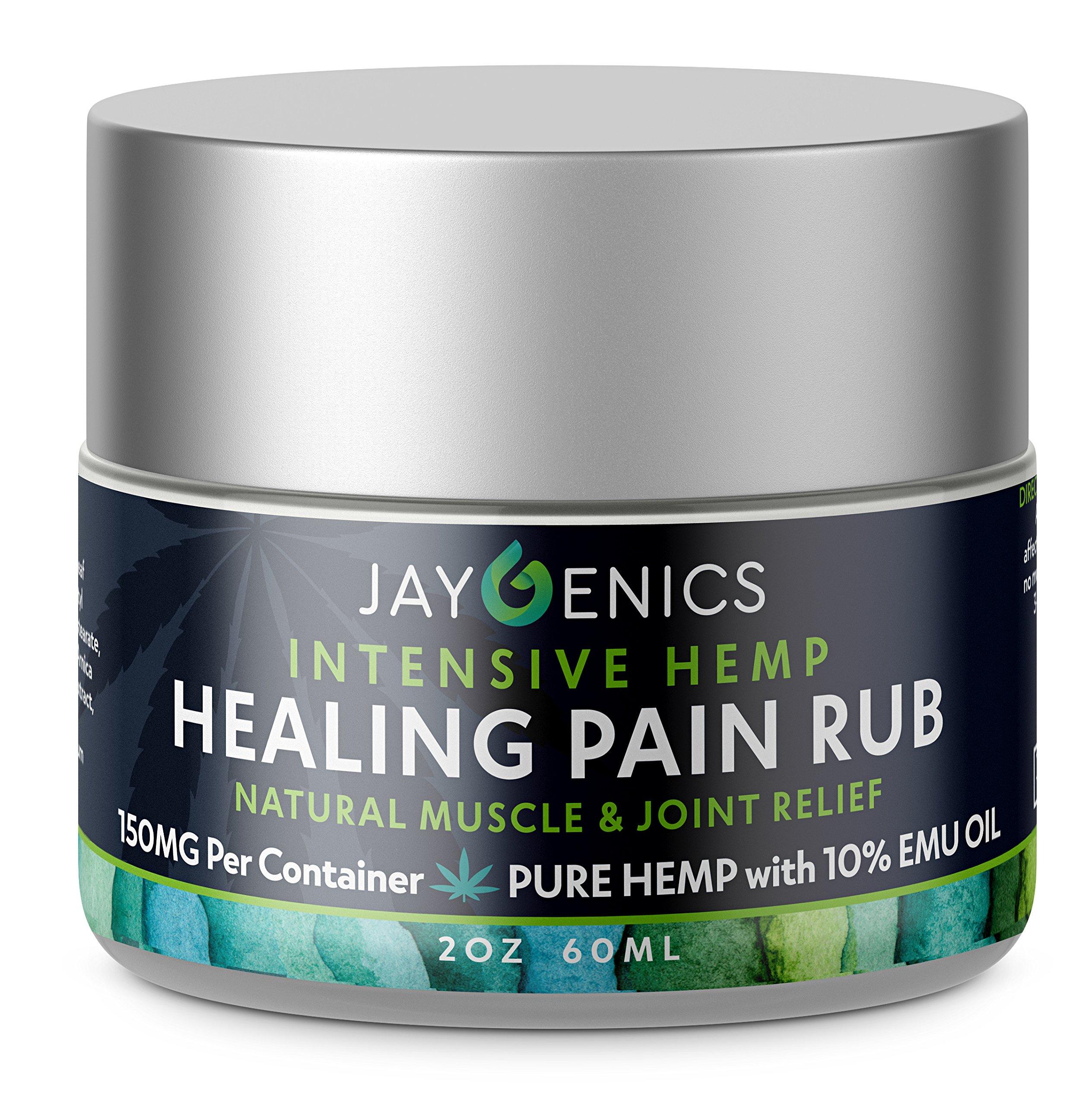 JAYGENICS Intensive Healing Rub, 150 Mg of Pure Hemp and 10% Emu Oil -2oz