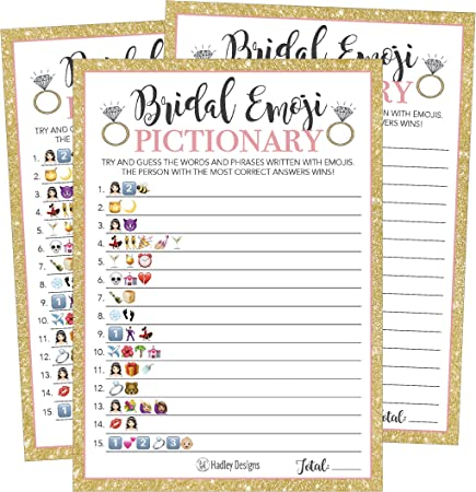 25 Emoji Pictionary Bridal Shower Games Ideas Wedding Shower Bachelorette Or Engagement Party For Men And Women Couples Cute Funny Board Kit Bundle