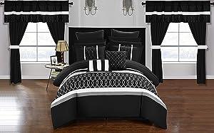 Chic Home Dinah 24 Piece Comforter Set, Queen, Black