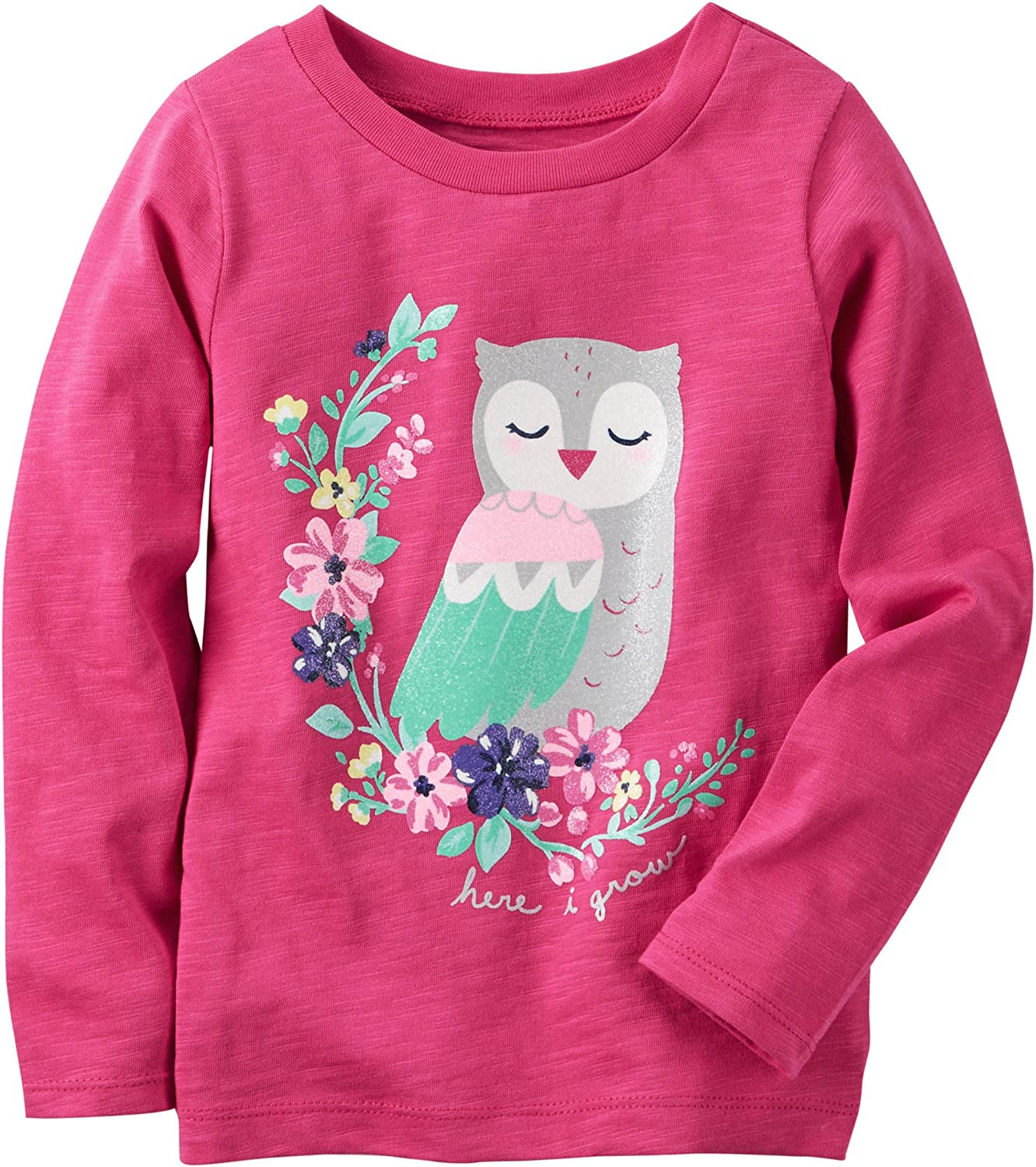 Carters Toddler Girls Here I Grow Owl T-Shirt 4T Bright pink