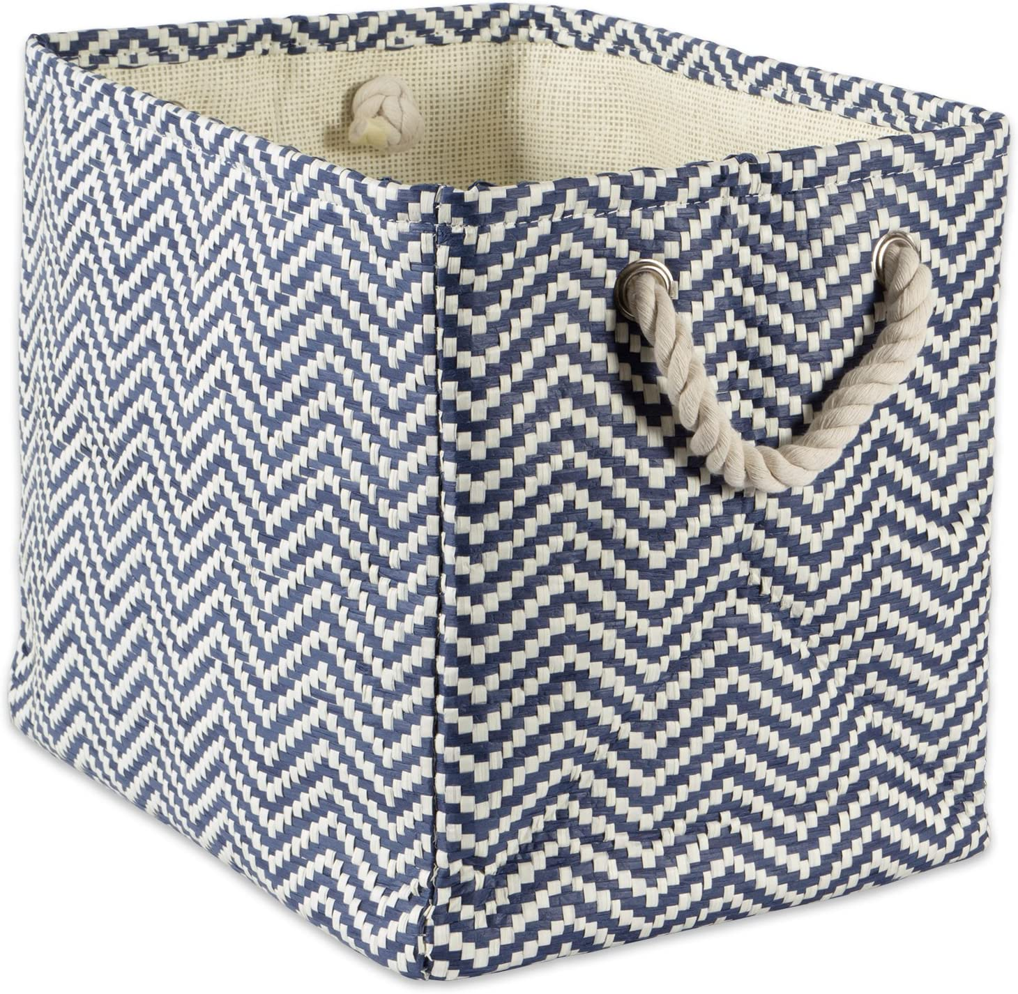 "DII Woven Paper Storage Basket or Bin, Collapsible & Convenient Home Organization Solution for Office, Bedroom, Closet, Toys, & Laundry (Medium – 15x10x12""), Nautical Blue Chevron"