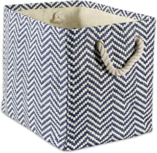 """DII Woven Paper Storage Basket or Bin, Collapsible & Convenient Home Organization Solution for Office, Bedroom, Closet, Toys, Laundry (Small - 11x10x9""""), Nautical Blue Chevron"""