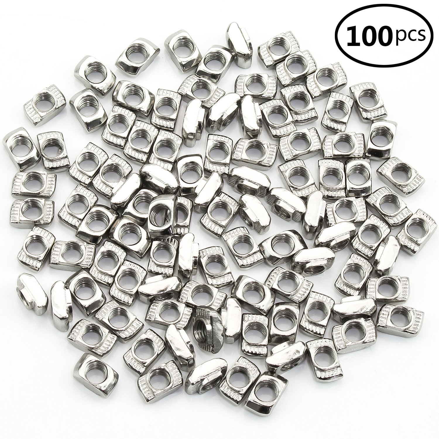 Sutemribor 2020 Series 100 Pcs M5 T-Nuts,Carbon Steel Nickel-Plated Half Round Roll in Sliding T Slot Nut 6mm Slot Aluminum Profile Accessories STBR-T-luomu---50P M5