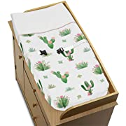 Pink and Green Boho Watercolor Changing Pad Cover for Cactus Floral Collection by Sweet Jojo Designs