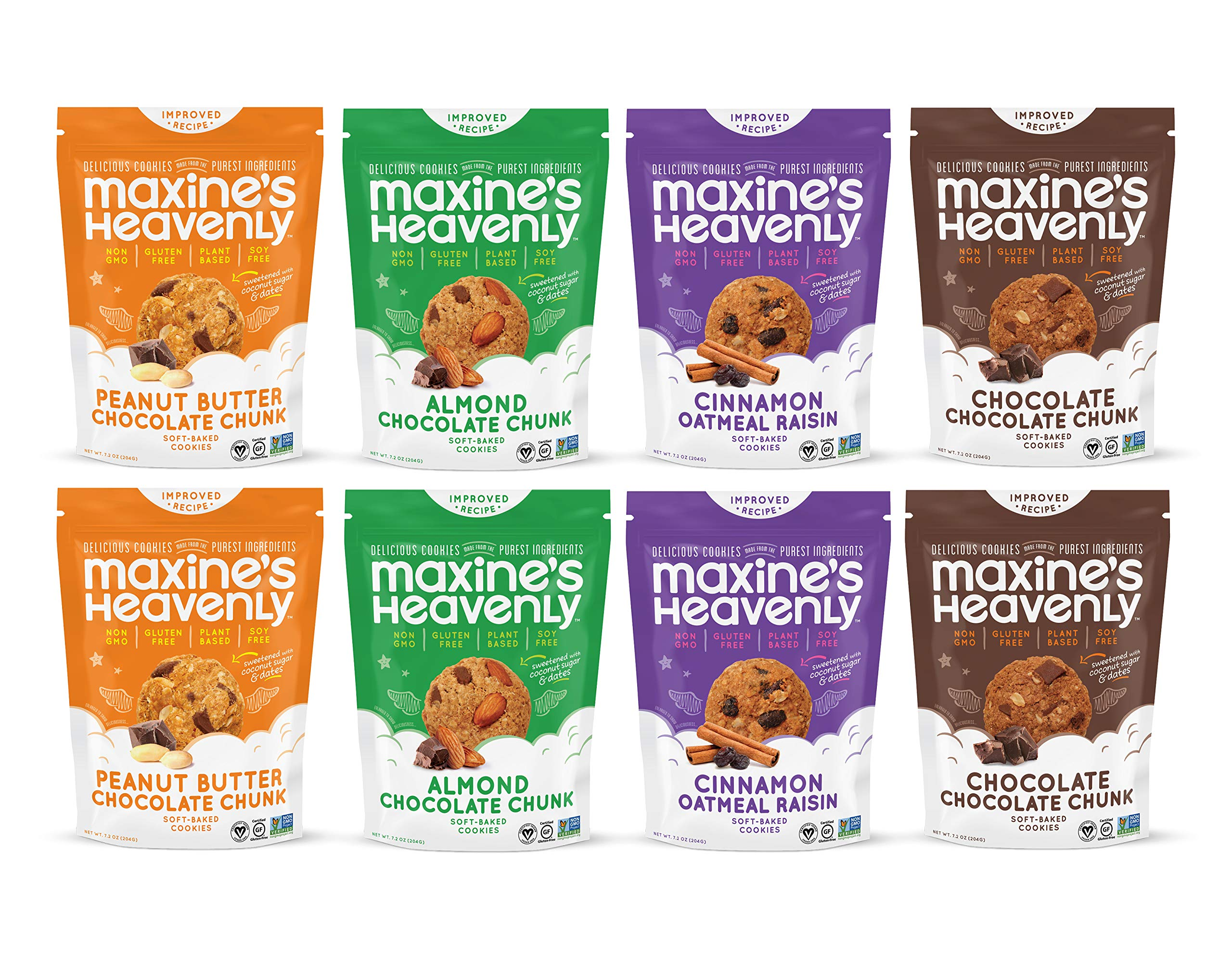 Maxine's Heavenly - Gluten Free, Vegan, Soy Free, Non-GMO Cookies - Variety eight Pack-7.2 ounces each (8 Pack) by Maxine's Heavenly