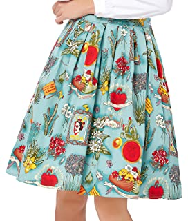 da0a8753850f GRACE KARIN Women Pleated Vintage Skirts Floral Print CL6294 (Multi-Colored)