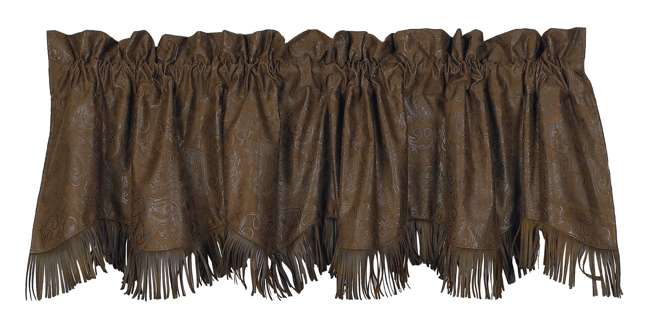 HiEnd Accents Faux Tooled Leather Western Valance, 4'2'' x 5' - VL1004 by HiEnd Accents