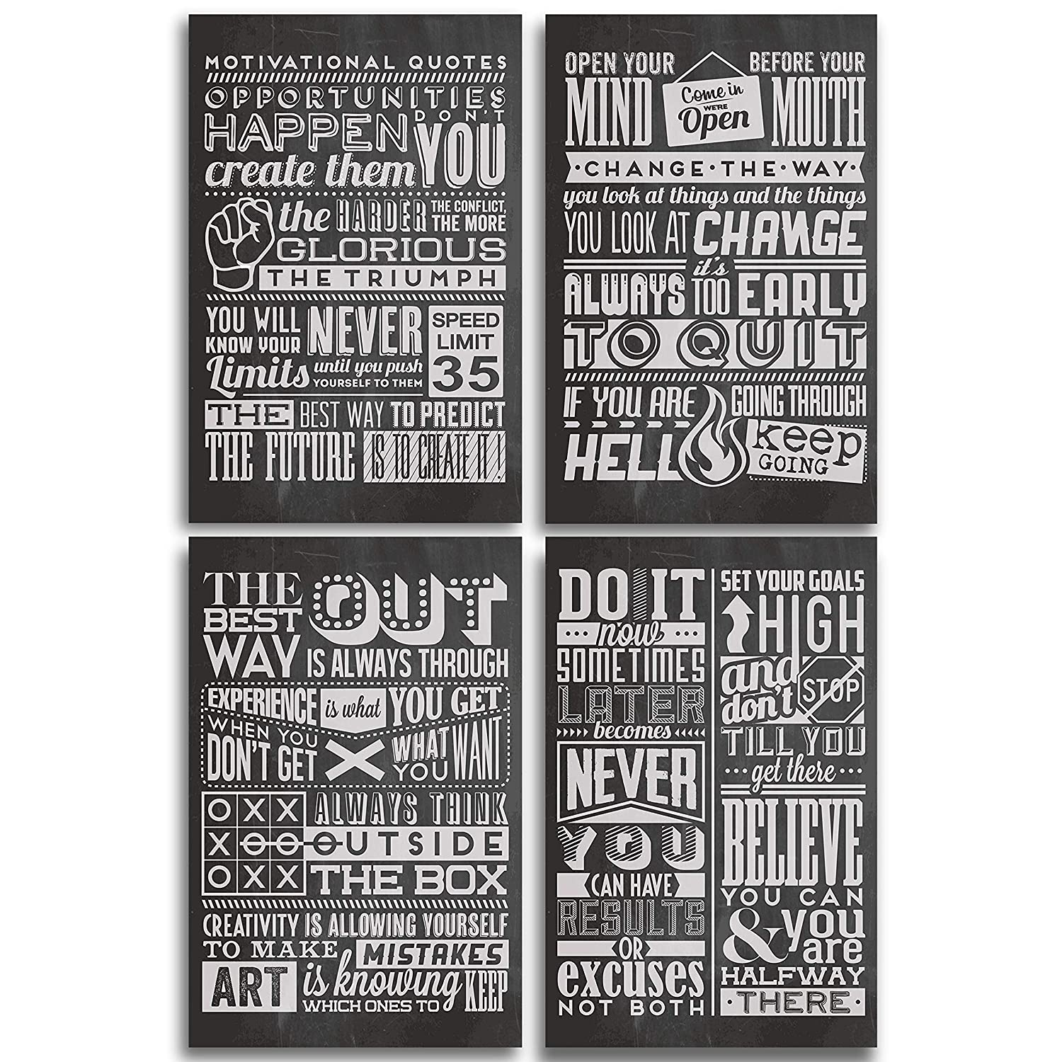Chalkboard Motivational Inspirational Posters For Classroom Or College With Encouragement Quotes Set Of Four 11x17 Wall Art Decor Great Birthday Or Graduation Gifts For Kids Or Teens Amazon In Home Kitchen