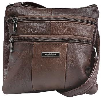 2b1eb17087 Lorenz Ladies Small Genuine Soft Leather Cross Body   Shoulder Bag (6)    1941 - Mocha  Amazon.co.uk  Luggage