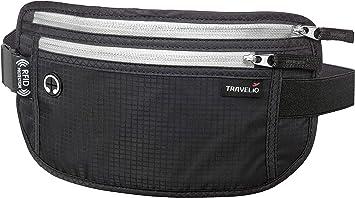 Belt Waist Bag Pouch Holder Money Valuables Case with Zipper Black