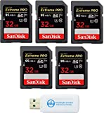 SanDisk 32GB (Five Pack) SD HC Extreme Pro Memory Card works with Digital DSLR Camera SDHC 4K V30 UHS-I (SDSDXXG-032G-GN4IN) with Everything But Stromboli (TM) Combo Reader