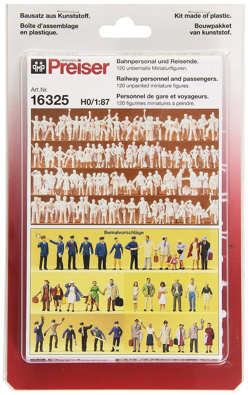 Preiser 16325 H0 Bahnpersonal und Reisende 120 unbemalte Figuren