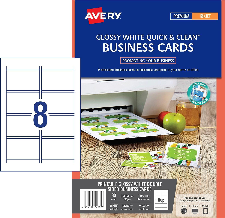 Avery Italia C32028-10 Biglietto da Visita Lucido, Stampabile con Inkjet, 8 Biglietti per Foglio, Confezione da 10 Pezzi, Bianco Avery-Zweckform