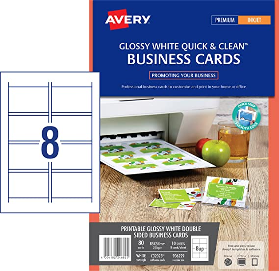 Avery c32028 10 double side printable business cards with glossy avery c32028 10 double side printable business cards with glossy finish 240 gsm for inkjet printers amazon office products reheart Gallery