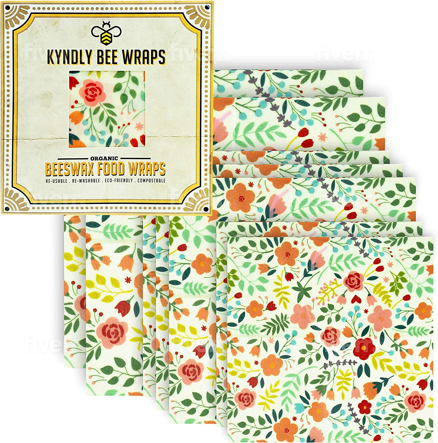 KYNDLY Beeswax Food Wrap, 7 Pack Eco-Friendly Reusable Wrappers. 100% Organic Cotton, Non Toxic, All Natural Food Grade Storage. Sustainable, Compostable and Biodegradable. 2xS 3xM 2xL (CLASSIC)