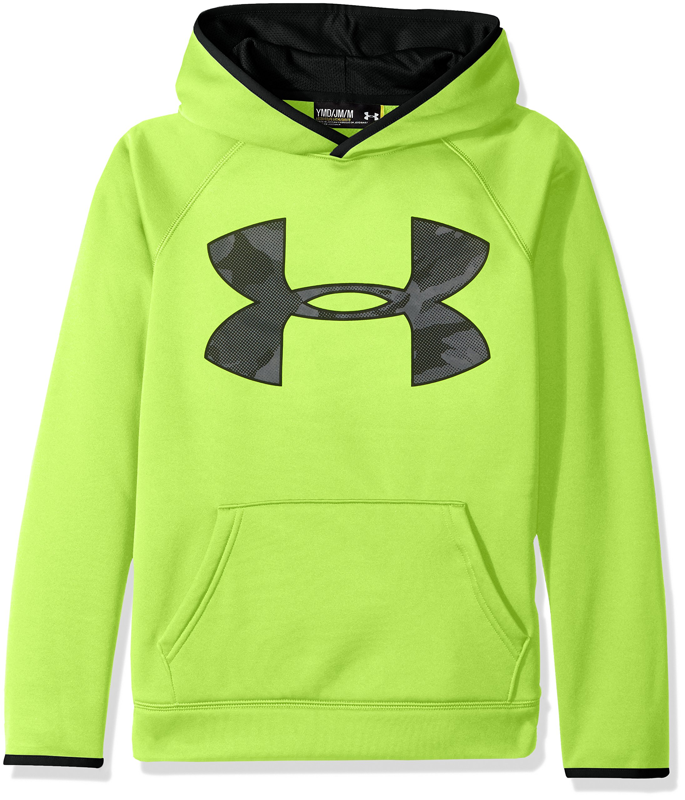 Under Armour Boys' Storm Armour Fleece Highlight Big Logo Hoodie, Fuel Green (364)/Black, Youth Small by Under Armour (Image #1)