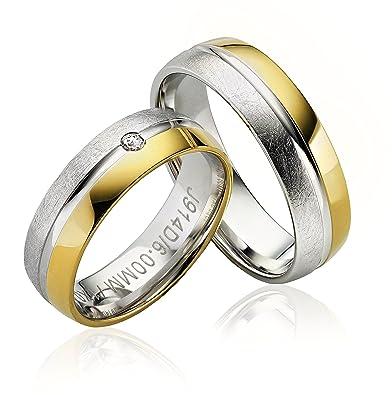 Anillo de matrimonio, anillos de compromiso, alianzas, anillos de amistad en oro recubierto de 6 mm de ancho con gravado y piedra: Amazon.es: Joyería
