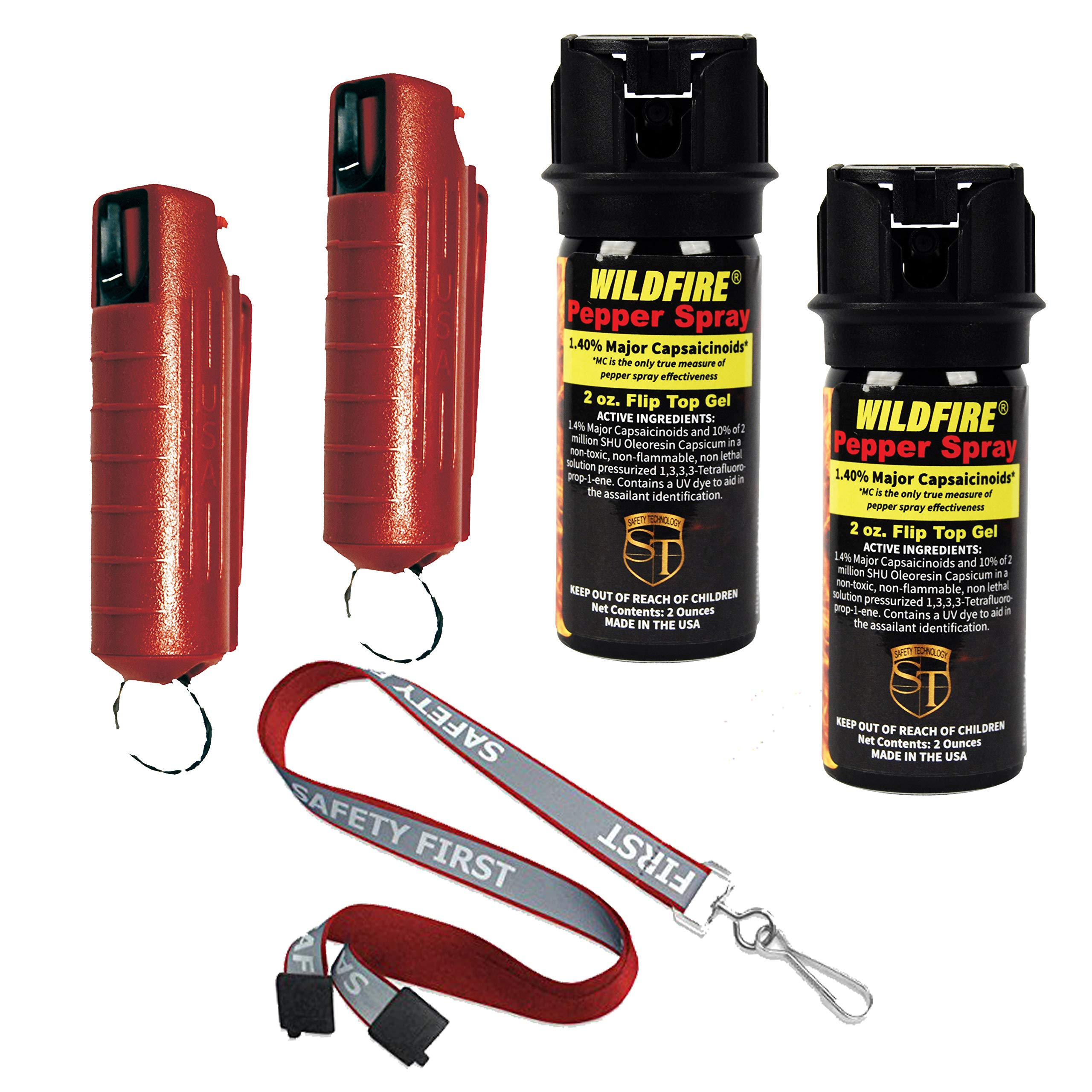 College Campus Bundle: Wildfire 2 Oz 1.4% MC Pepper Gel, 1/2 Oz 1.4% MC Pepper Spray and a Safety First Breakaway Lanyard - Lot of 5 as Shown by Wildfire Motors