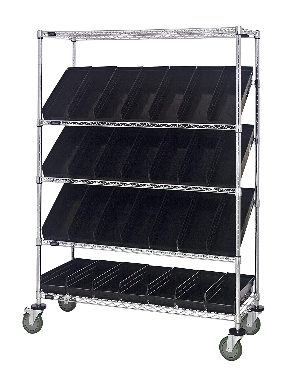 "B008I89EHG Quantum Storage Systems WRCSL5-63-2448-106BK 5-Tier Slanted Wire Shelving Suture Cart with 28 QSB106 Black Economy Shelf Bins, 2 Horizontal and 3 Slanted Shelves, Chrome Finish, 69"" Height x 48"" Width x 24"" Depth 917Xf6UFOqL._SL1500_"