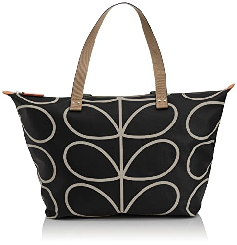 Orla Kiely Womens Linear Stem Print Zip Shopper Liqourice  Amazon.co ... 6db8964f36