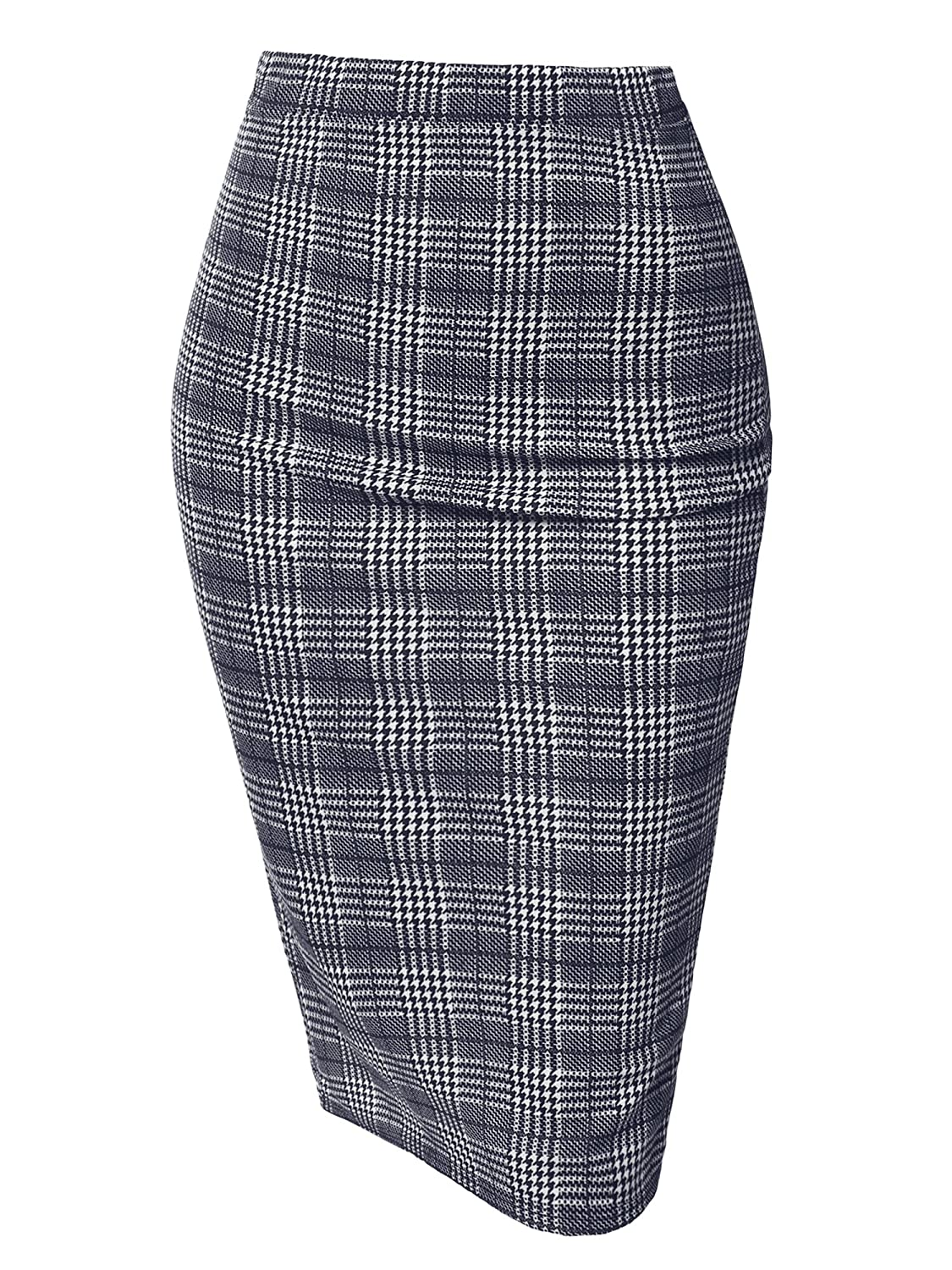 Aawskm0001 Navy White Awesome21 Women's Fitted Stretch Solid Print High Waist Midi Pencil Skirt  Made in USA