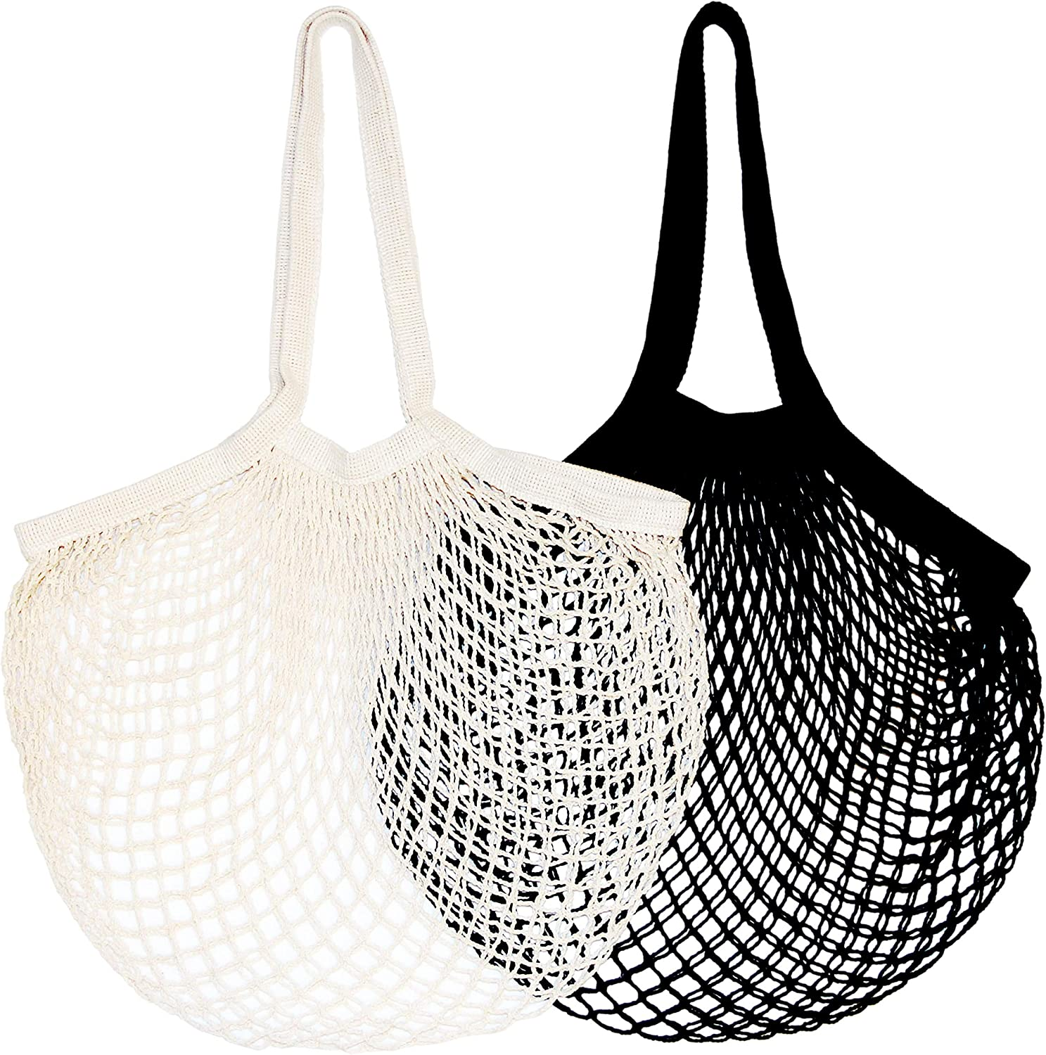 Set of 2 Net Bags / Produce Reusable Grocery Bags - 100% Cotton Net Shopping Tote / Washable French Grocery Bag / Market Bag in Black and Natural Colors / Organic Vegetable Mesh Bag