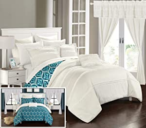 Chic Home CS0738-AN Adina 20 Piece Reversible Comforter Complete Bag Pleated Ruffled Geometric Pattern Bedding Set-Sheets Decorative Pillows Shams Window Treatments Curtains Included, King, White
