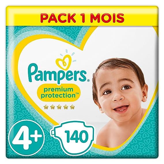 Pampers - Protección Premium - Pañales Tamaño 4+ (10-15/9-18 kg) - Paquete de 1 mes (x140 pañales): Amazon.es: Salud y cuidado personal
